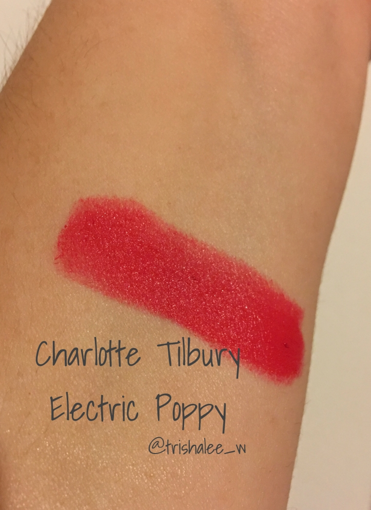 Charlotte Tilbury Electric Poppy lipstick swatch
